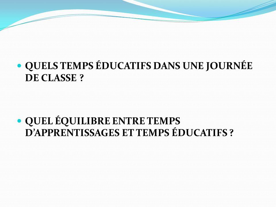QUELS TEMPS ÉDUCATIFS DANS UNE JOURNÉE DE CLASSE .