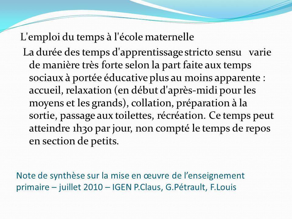 Note de synthèse sur la mise en œuvre de lenseignement primaire – juillet 2010 – IGEN P.Claus, G.Pétrault, F.Louis L'emploi du temps à l'école materne