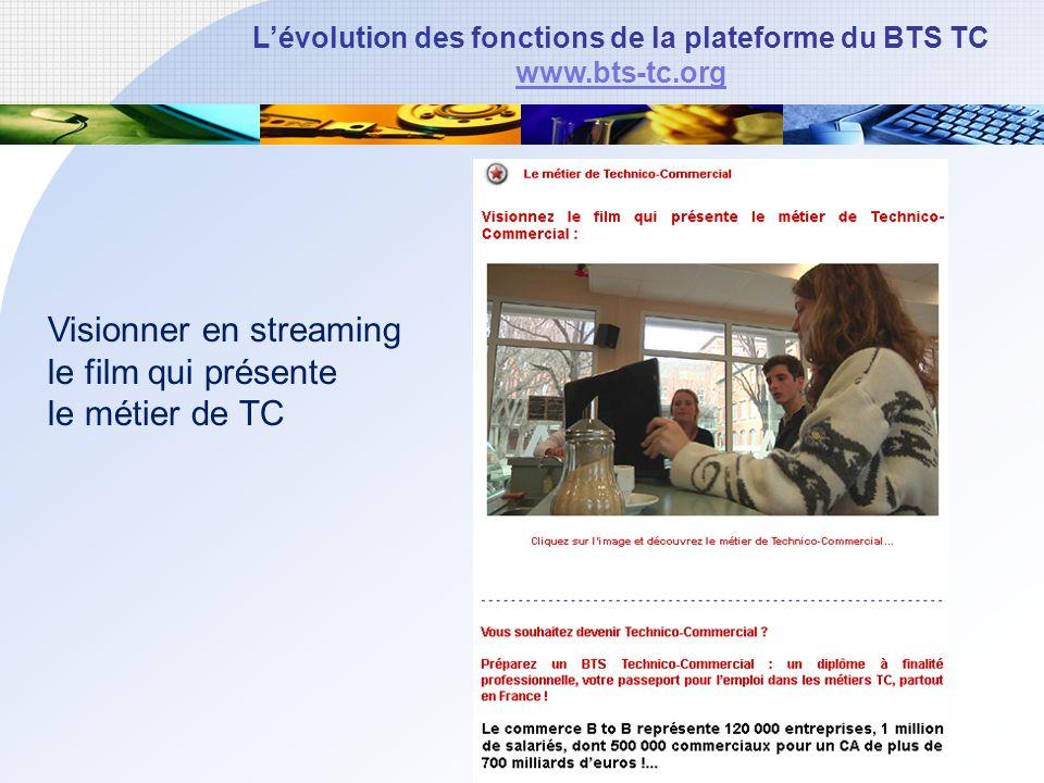 Lévolution des fonctions de la plateforme du BTS TC www.bts-tc.org Visionner en streaming le film qui présente le métier de TC