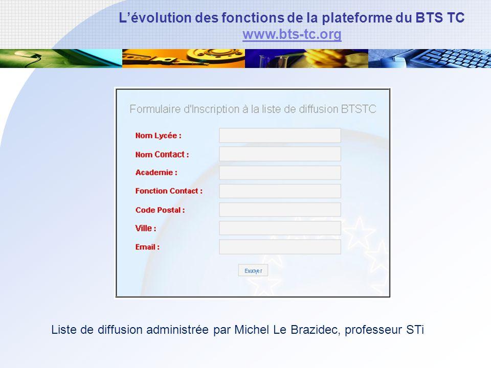 Lévolution des fonctions de la plateforme du BTS TC www.bts-tc.org Liste de diffusion administrée par Michel Le Brazidec, professeur STi
