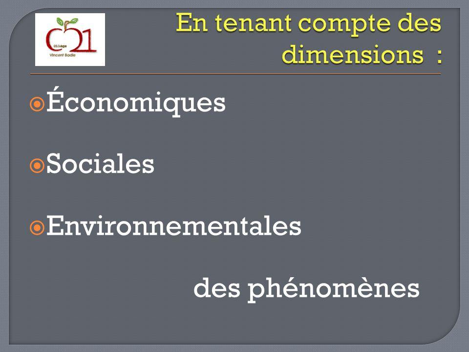 Économiques Sociales Environnementales des phénomènes