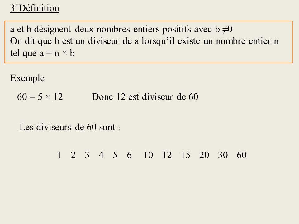 3°Définition a et b désignent deux nombres entiers positifs avec b 0 On dit que b est un diviseur de a lorsquil existe un nombre entier n tel que a =