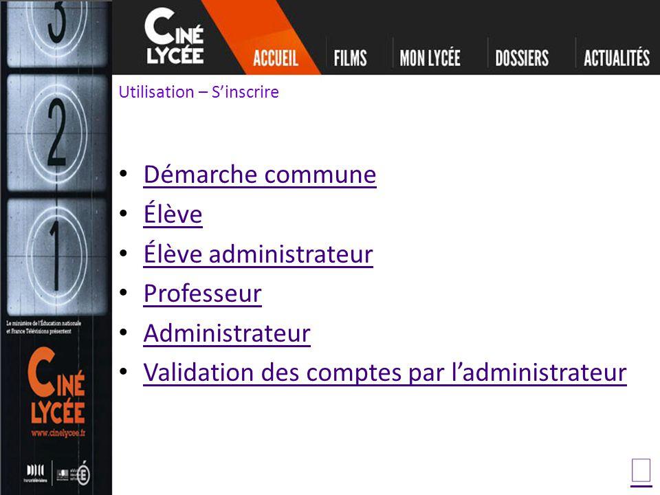 Utilisation – Sinscrire Démarche commune Élève Élève administrateur Professeur Administrateur Validation des comptes par ladministrateur