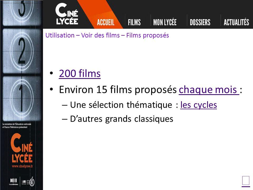 200 films Environ 15 films proposés chaque mois :chaque mois – Une sélection thématique : les cyclesles cycles – Dautres grands classiques Utilisation – Voir des films – Films proposés