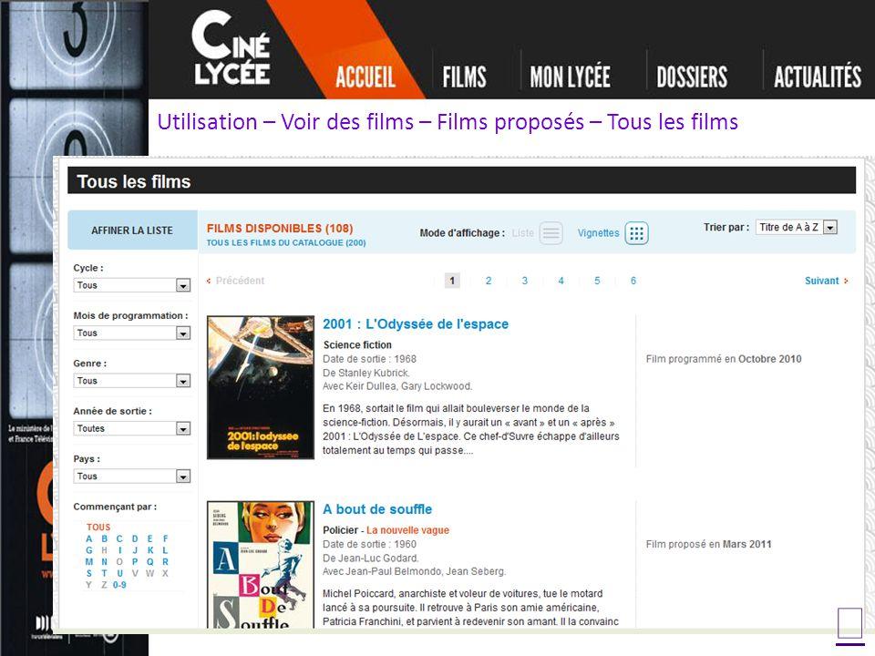 Utilisation – Voir des films – Films proposés – Tous les films
