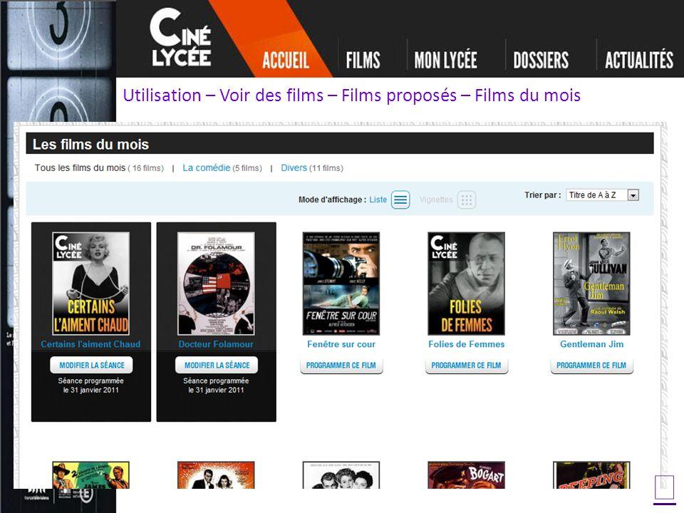 Utilisation – Voir des films – Films proposés – Films du mois