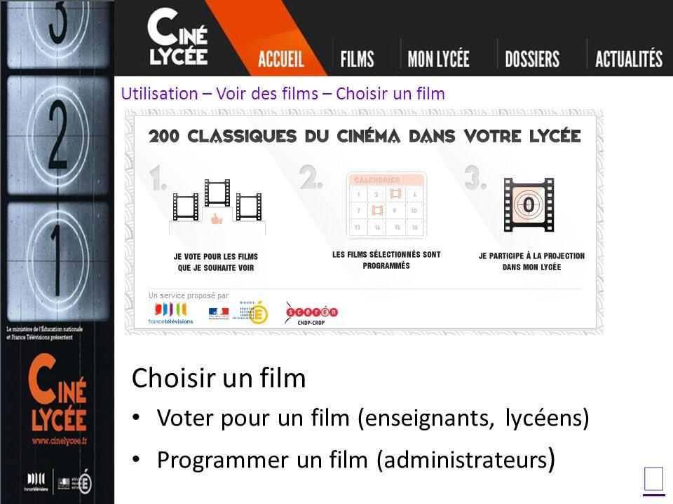 Choisir un film Voter pour un film (enseignants, lycéens) Programmer un film (administrateurs ) Utilisation – Voir des films – Choisir un film
