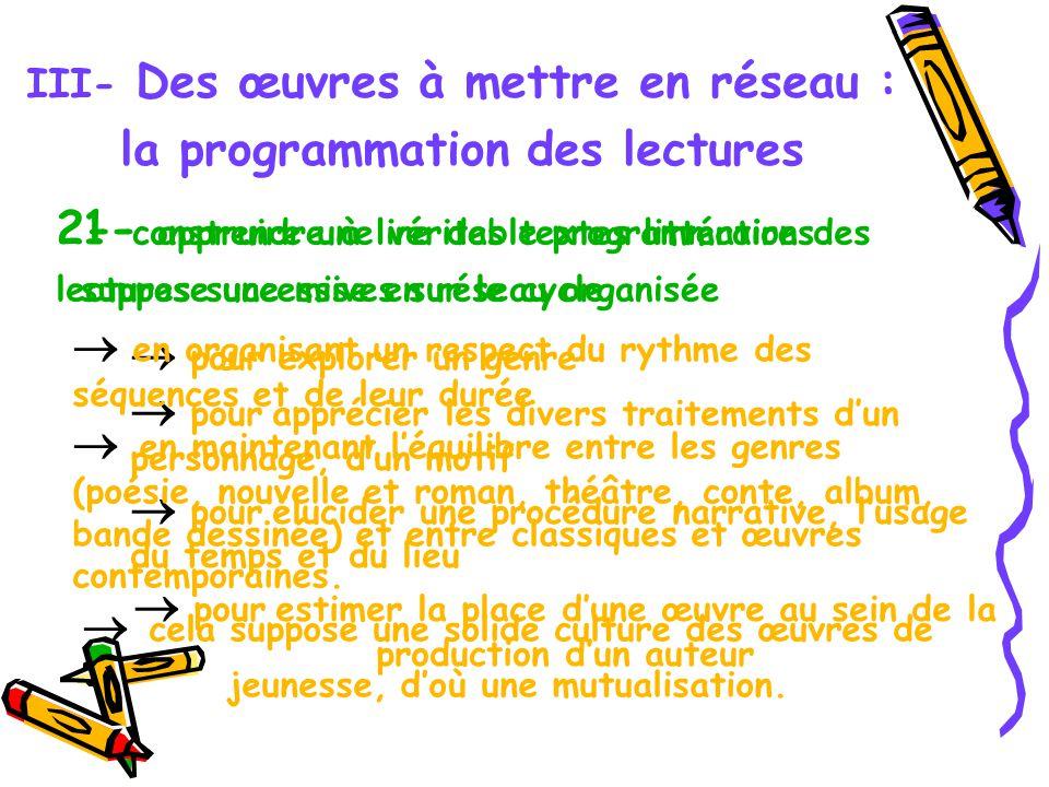 III- Des œuvres à mettre en réseau : la programmation des lectures 1- apprendre à lire des textes littéraires suppose une mise en réseau organisée pou