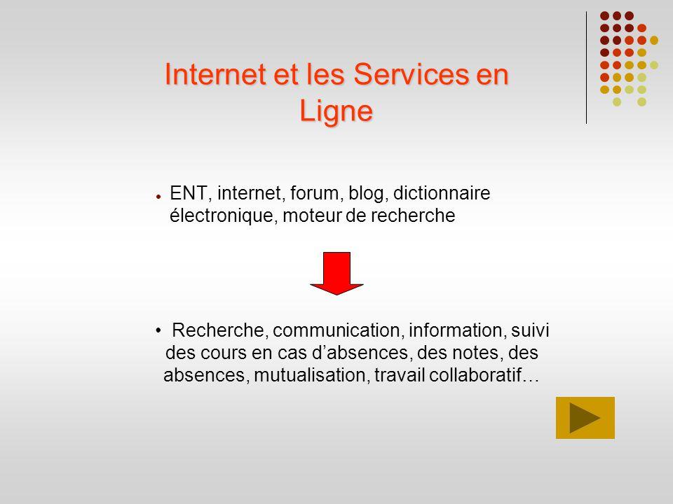 Internet et les Services en Ligne ENT, internet, forum, blog, dictionnaire électronique, moteur de recherche Recherche, communication, information, su