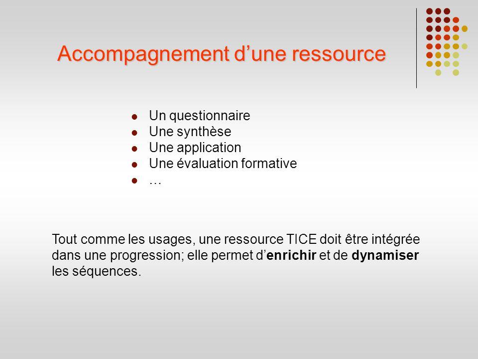 Accompagnement dune ressource Un questionnaire Une synthèse Une application Une évaluation formative … Tout comme les usages, une ressource TICE doit
