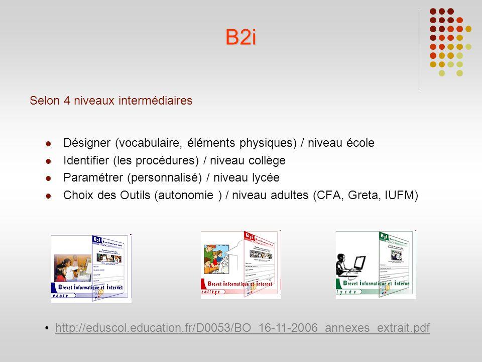 Selon 4 niveaux intermédiaires Désigner (vocabulaire, éléments physiques) / niveau école Identifier (les procédures) / niveau collège Paramétrer (pers