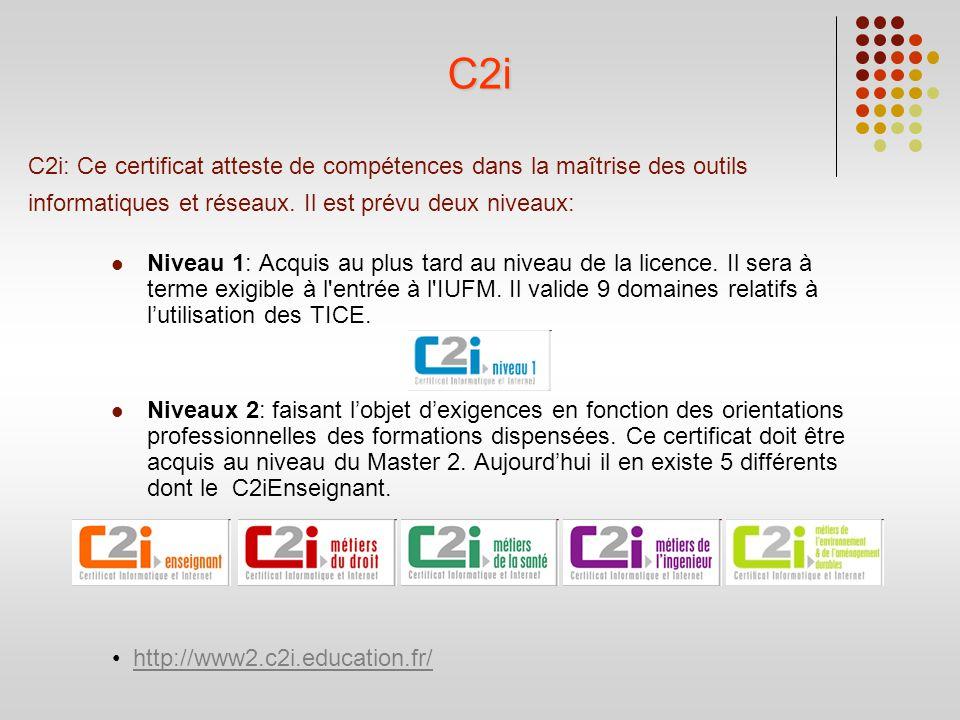 C2i: Ce certificat atteste de compétences dans la maîtrise des outils informatiques et réseaux. Il est prévu deux niveaux: Niveau 1: Acquis au plus ta