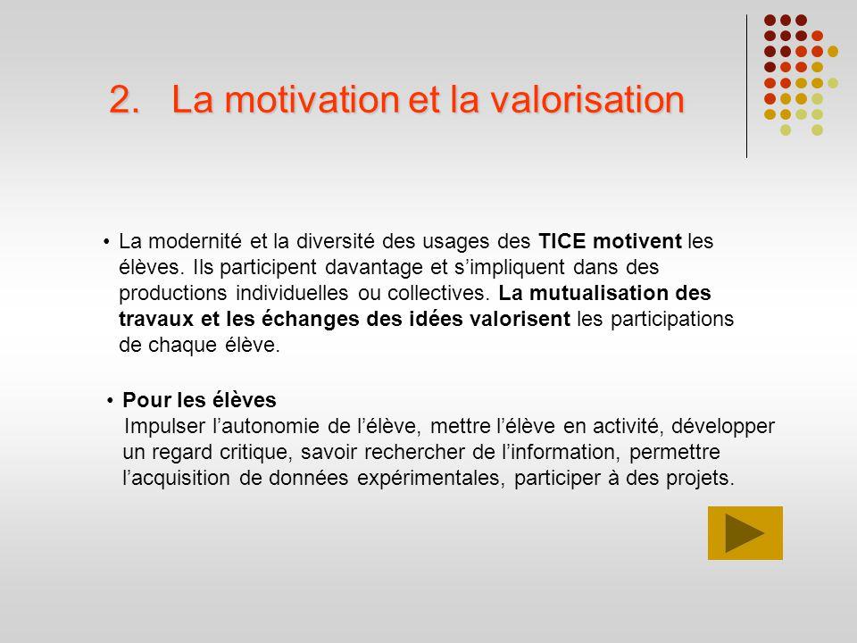 2.La motivation et la valorisation La modernité et la diversité des usages des TICE motivent les élèves. Ils participent davantage et simpliquent dans
