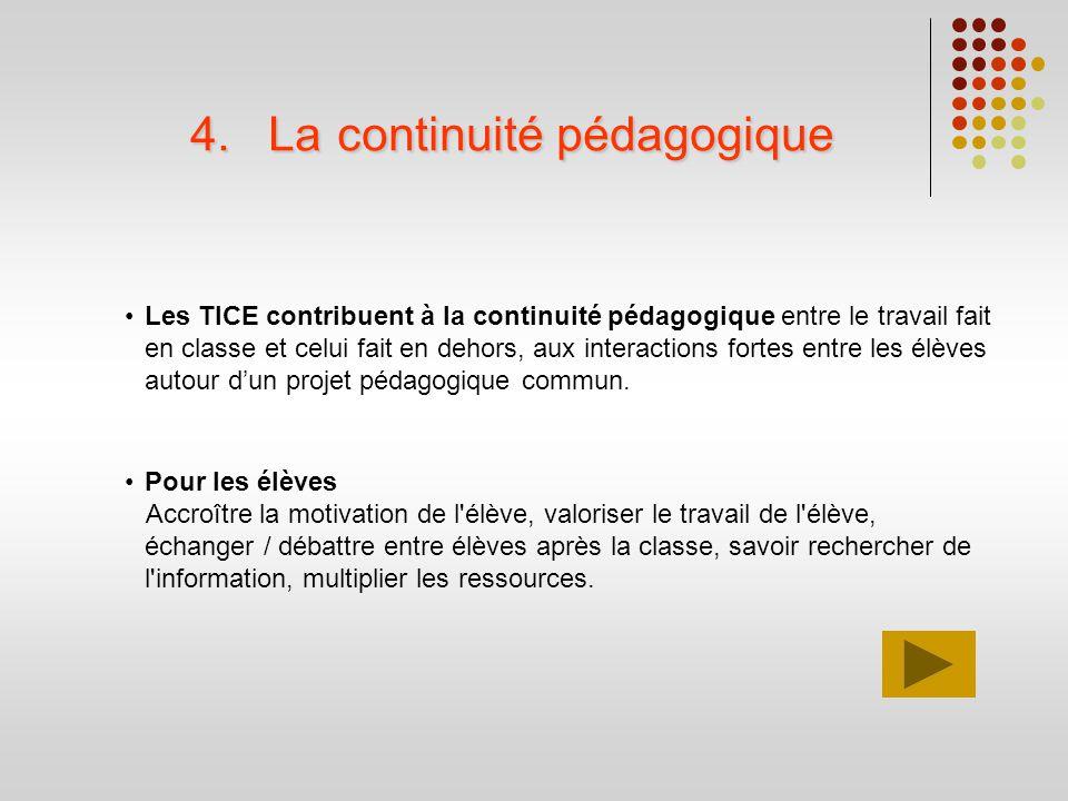 4.La continuité pédagogique Les TICE contribuent à la continuité pédagogique entre le travail fait en classe et celui fait en dehors, aux interactions