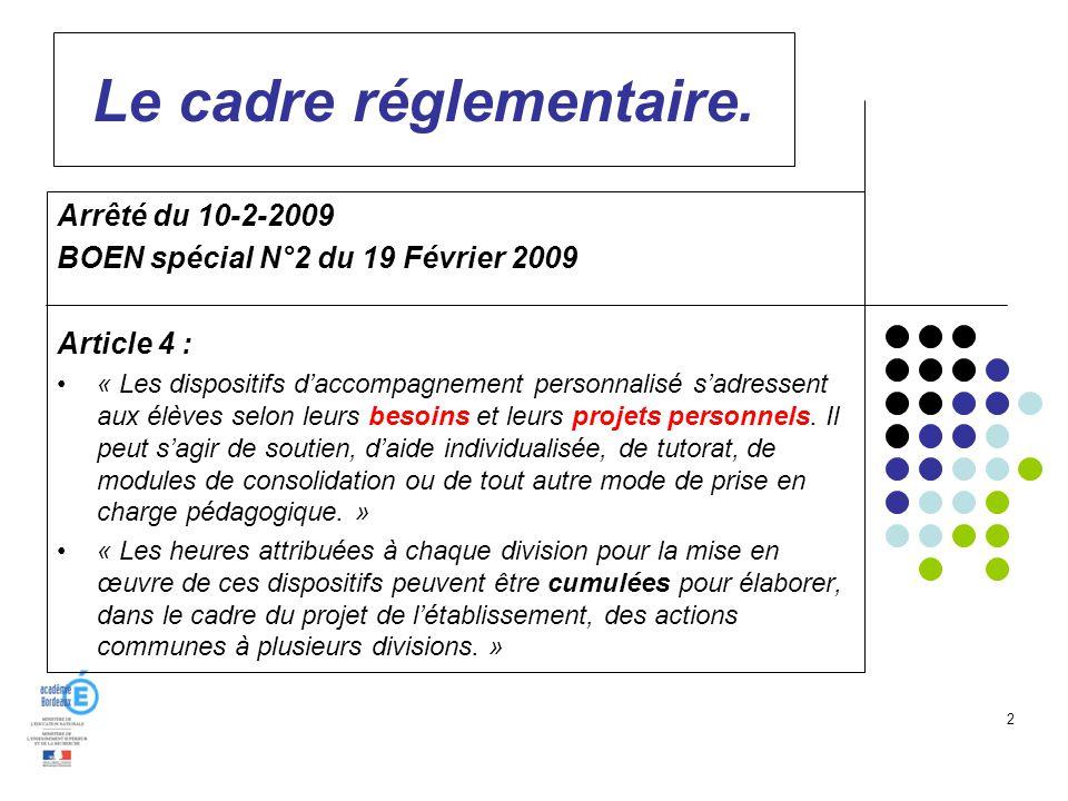 2 Le cadre réglementaire. Arrêté du 10-2-2009 BOEN spécial N°2 du 19 Février 2009 Article 4 : « Les dispositifs daccompagnement personnalisé sadressen