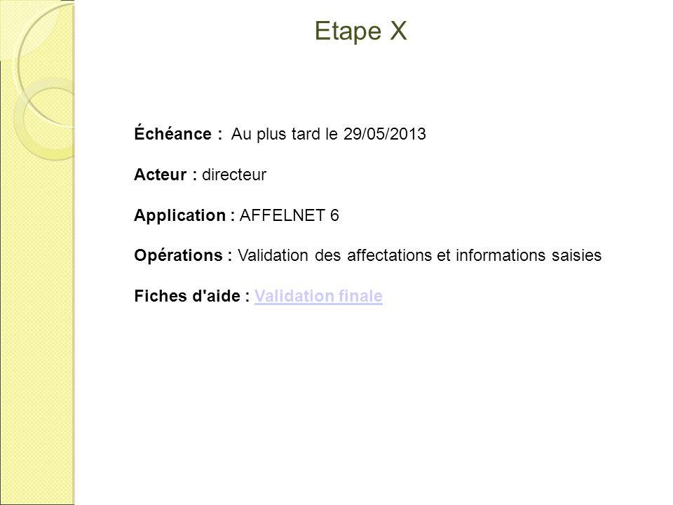 Etape X Échéance : Au plus tard le 29/05/2013 Acteur : directeur Application : AFFELNET 6 Opérations : Validation des affectations et informations sai
