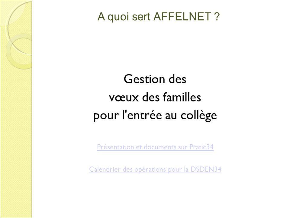A quoi sert AFFELNET ? Gestion des vœux des familles pour l'entrée au collège Présentation et documents sur Pratic34 Calendrier des opérations pour la