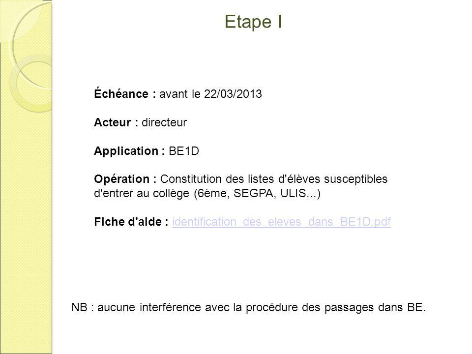 Etape I NB : aucune interférence avec la procédure des passages dans BE. Échéance : avant le 22/03/2013 Acteur : directeur Application : BE1D Opératio