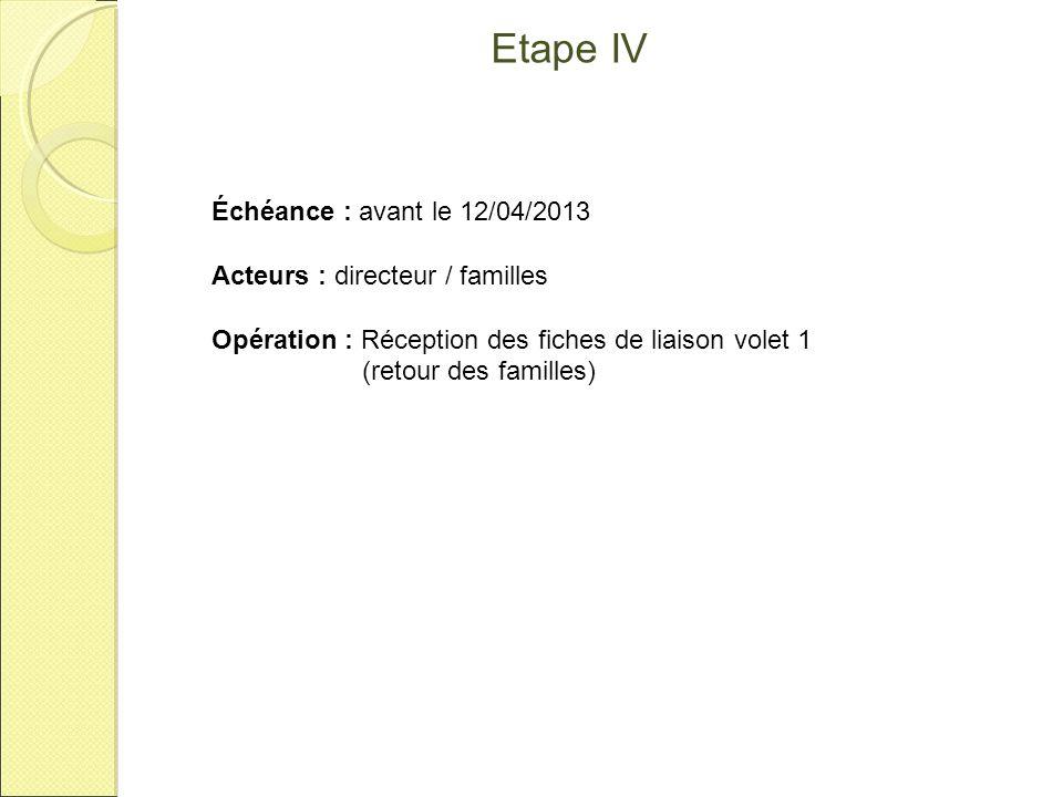 Etape v Échéance : entre le 08 et le 15/04/2013 Acteur : directeur Application : AFFELNET 6 Opération : Saisie des modifications à partir du volet 1.