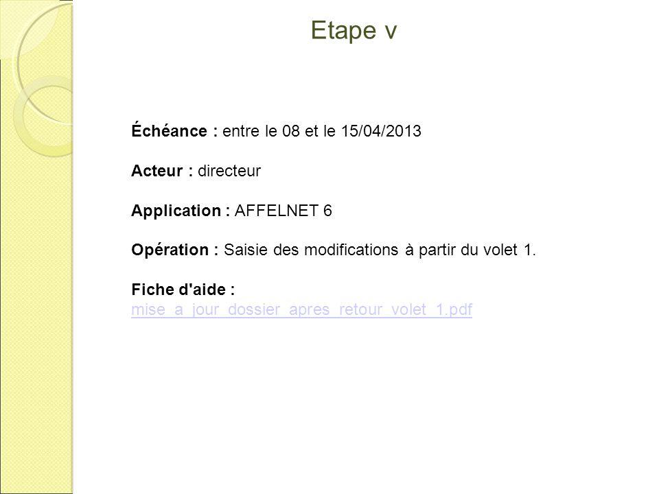 Etape VI Échéance : le 19/04/2013 Acteur : directeur Opération : Réception de la contestation ou non de la proposition du conseil de cycle