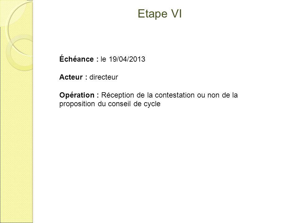 Etape VII Échéance : entre le 06 et le 10/05/2013 Acteur : directeur Application : AFFELNET 6 Opération : Edition de la fiche de liaison volet 2 et remise aux familles.