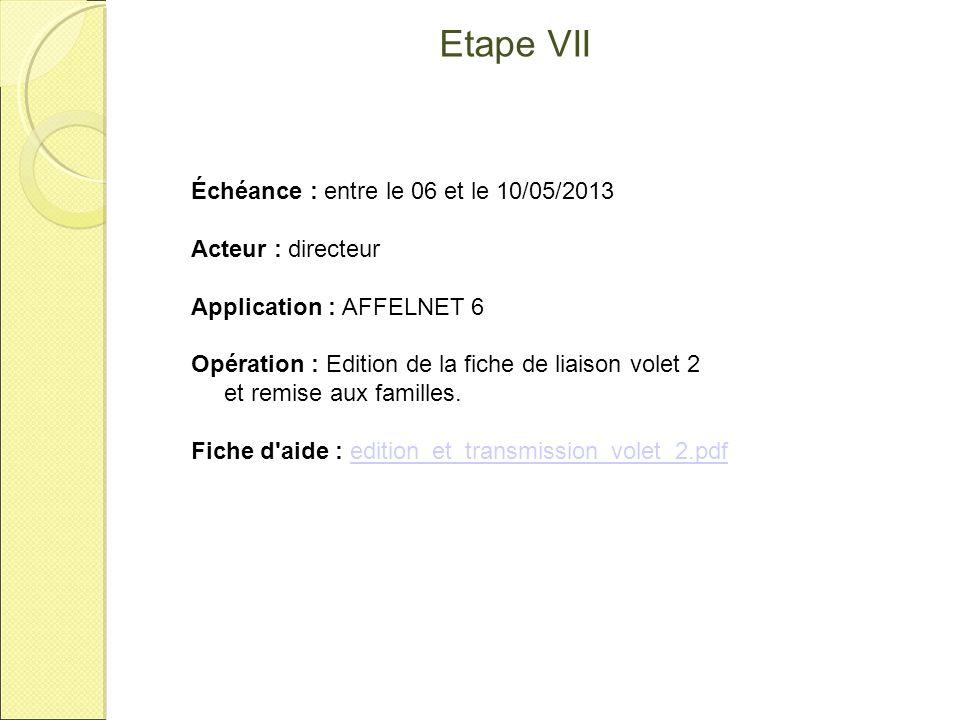 Etape VII Échéance : entre le 06 et le 10/05/2013 Acteur : directeur Application : AFFELNET 6 Opération : Edition de la fiche de liaison volet 2 et re