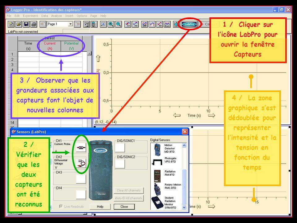 1 / Cliquer sur licône LabPro pour ouvrir la fenêtre Capteurs 2 / Vérifier que les deux capteurs ont été reconnus 3 / Observer que les grandeurs assoc