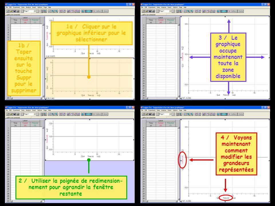 1a / Cliquer sur le graphique inférieur pour le sélectionner 1b / Taper ensuite sur la touche Suppr pour le supprimer 2 / Utiliser la poignée de redim