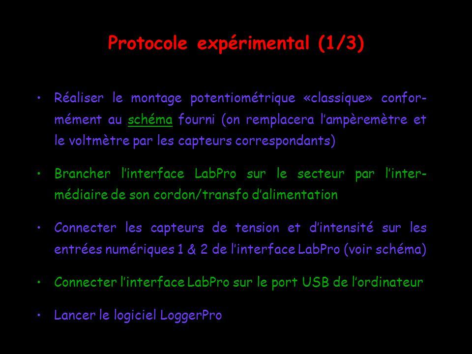Protocole expérimental (1/3) Réaliser le montage potentiométrique «classique» confor- mément au schéma fourni (on remplacera lampèremètre et le voltmè