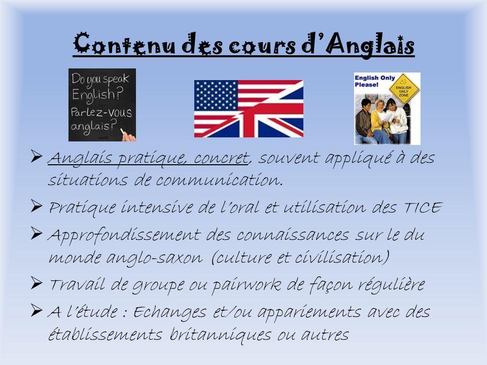 Contenu des cours dAnglais Anglais pratique, concret, souvent appliqué à des situations de communication.