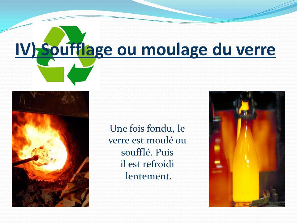 IV) Soufflage ou moulage du verre Une fois fondu, le verre est moulé ou soufflé. Puis il est refroidi lentement.