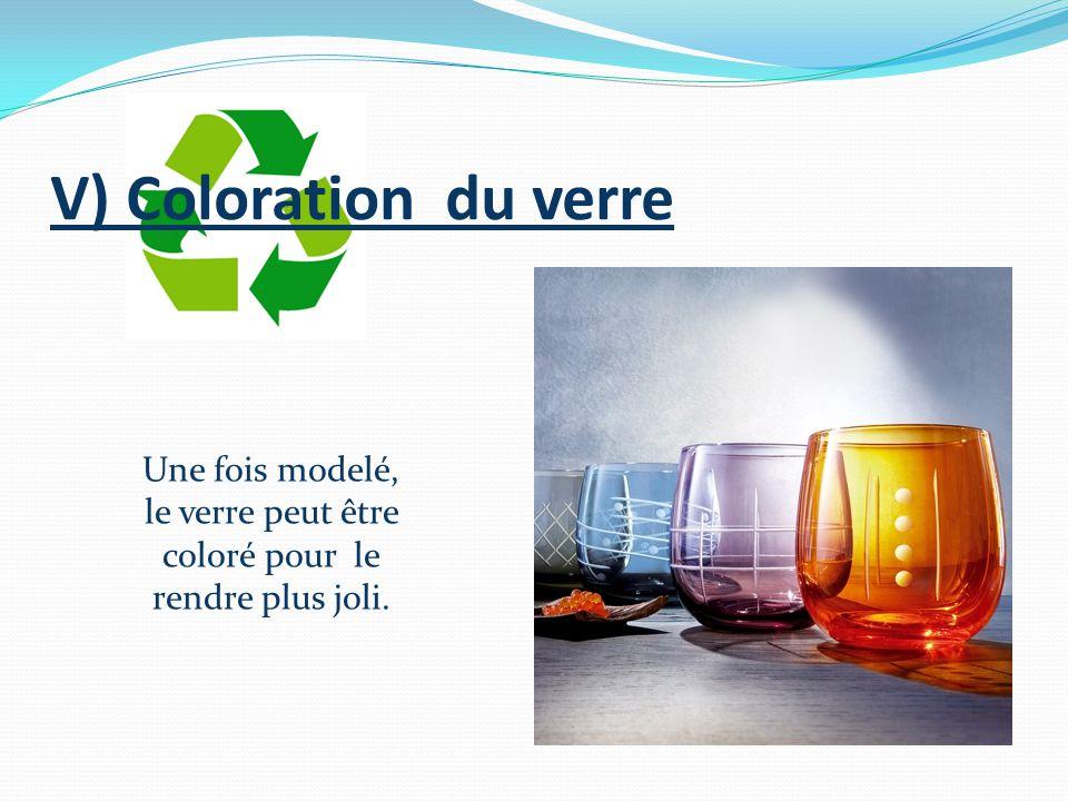 V) Coloration du verre Une fois modelé, le verre peut être coloré pour le rendre plus joli.
