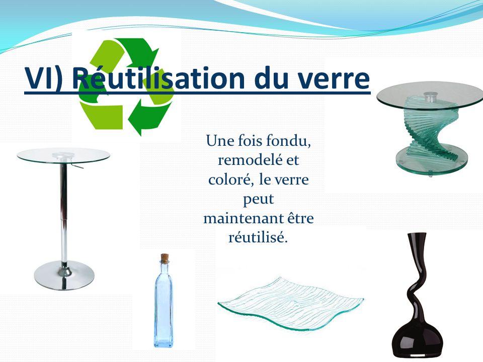 VI) Réutilisation du verre Une fois fondu, remodelé et coloré, le verre peut maintenant être réutilisé.