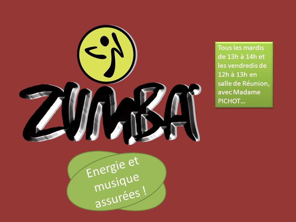Tous les mardis de 13h à 14h et les vendredis de 12h à 13h en salle de Réunion, avec Madame PICHOT… Energie et musique assurées !