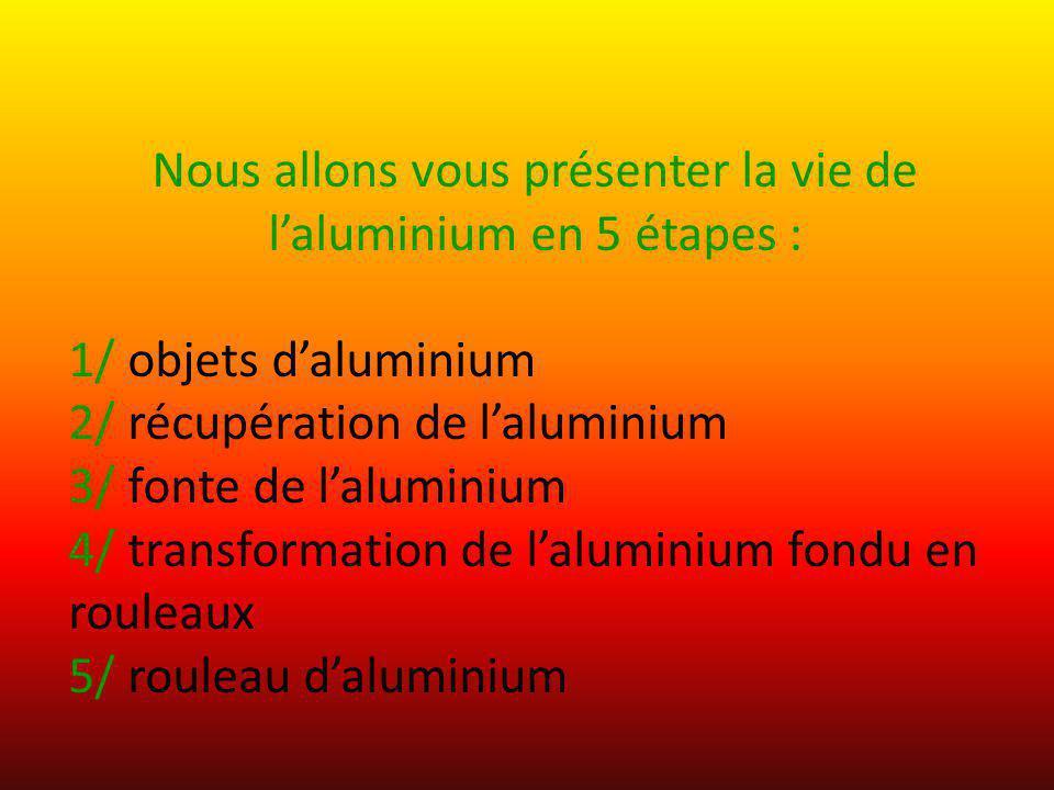 Nous allons vous présenter la vie de laluminium en 5 étapes : 1/ objets daluminium 2/ récupération de laluminium 3/ fonte de laluminium 4/ transformat