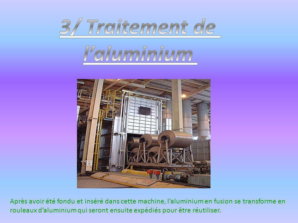 Après avoir été fondu et inséré dans cette machine, laluminium en fusion se transforme en rouleaux daluminium qui seront ensuite expédiés pour être ré
