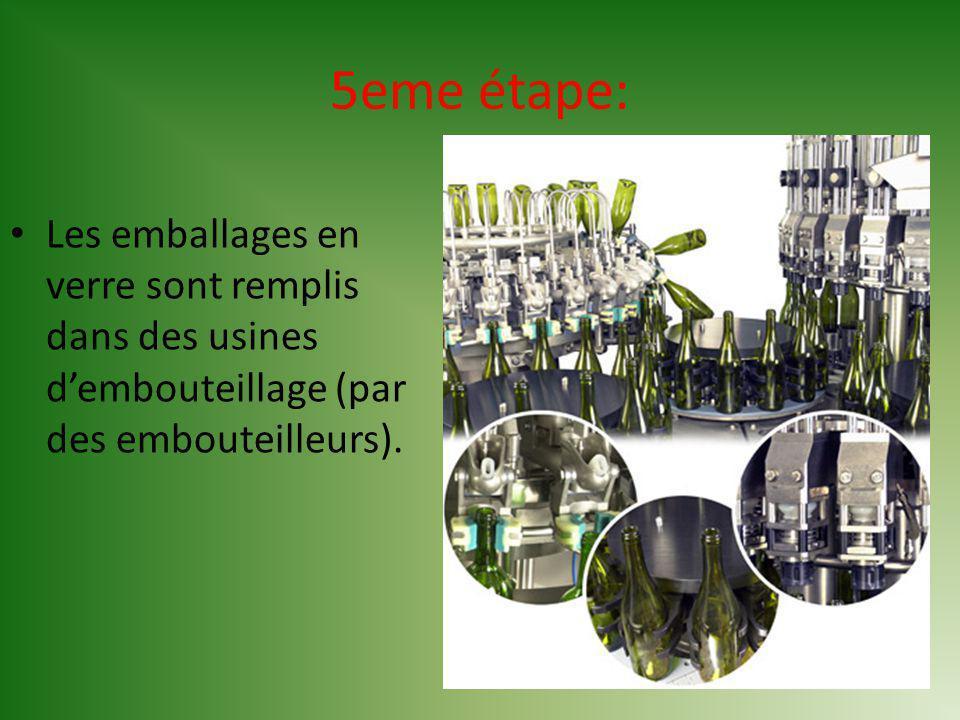 5eme étape: Les emballages en verre sont remplis dans des usines dembouteillage (par des embouteilleurs).