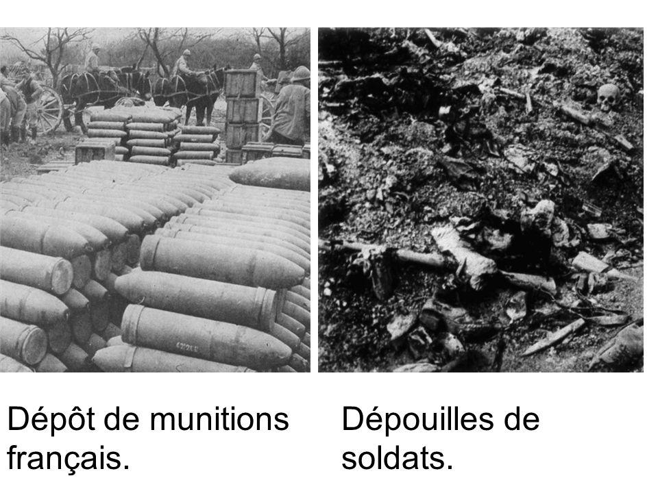 Dépôt de munitions français. Dépouilles de soldats.