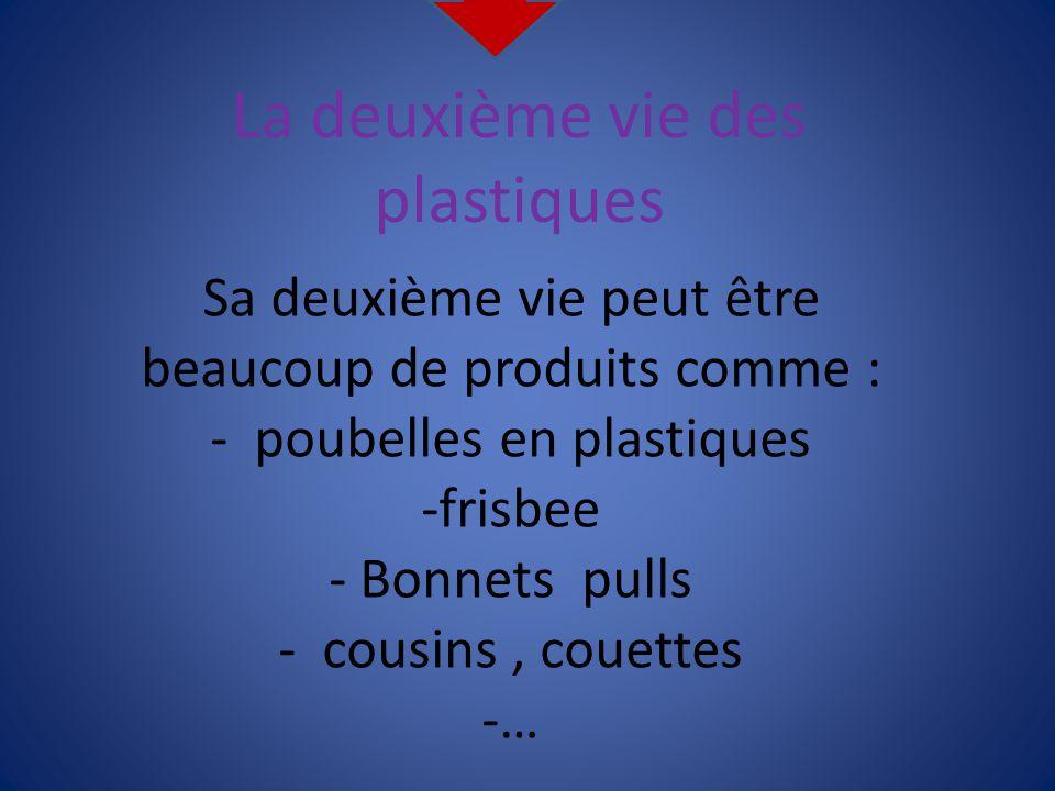 La deuxième vie des plastiques Sa deuxième vie peut être beaucoup de produits comme : - poubelles en plastiques -frisbee - Bonnets pulls - cousins, co