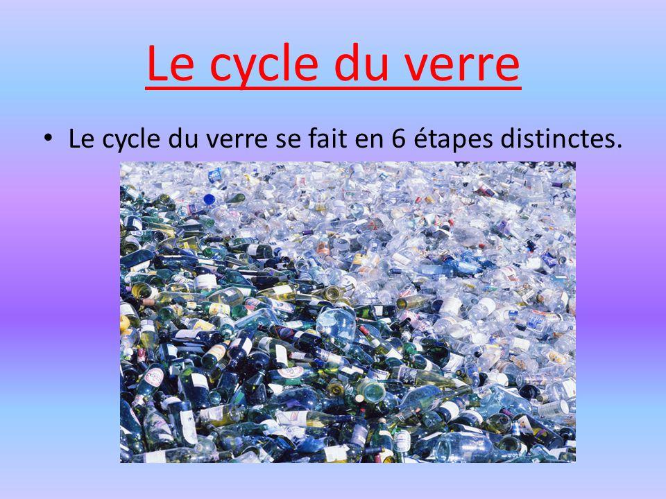 Le cycle du verre Le cycle du verre se fait en 6 étapes distinctes.