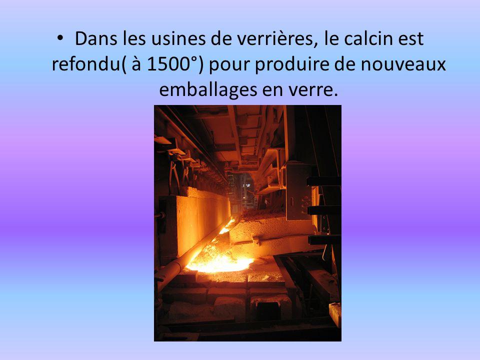Dans les usines de verrières, le calcin est refondu( à 1500°) pour produire de nouveaux emballages en verre.