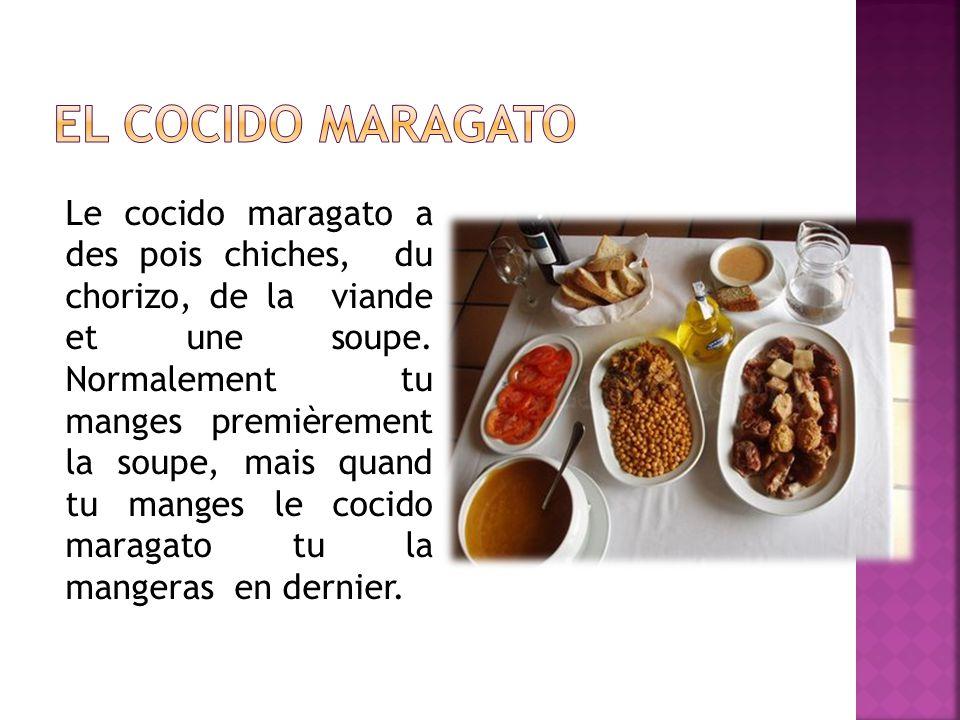 Le cocido maragato a des pois chiches, du chorizo, de la viande et une soupe.