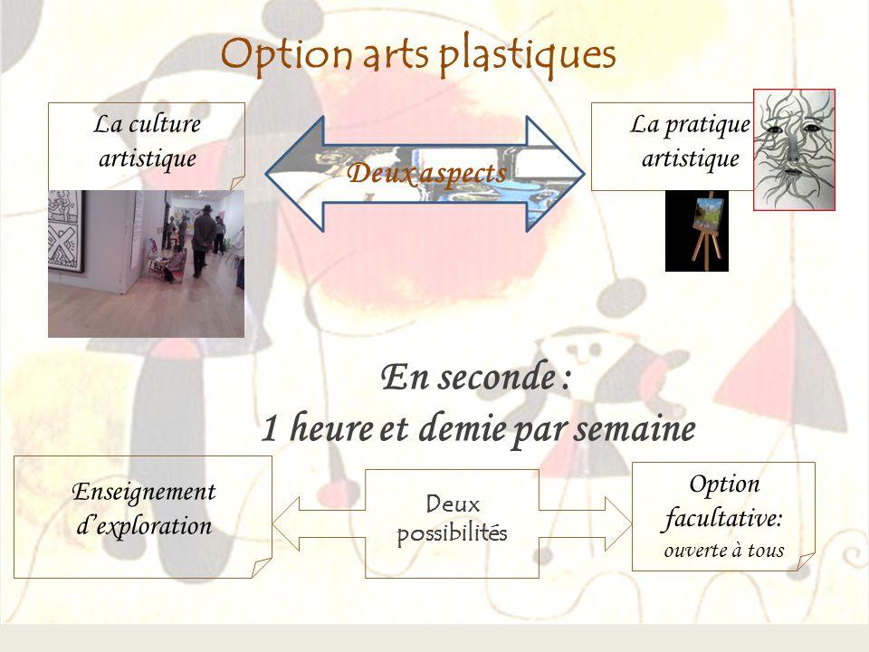 Option arts plastiques Deux aspects La pratique artistique En seconde : 1 heure et demie par semaine Deux possibilités Enseignement dexploration Optio