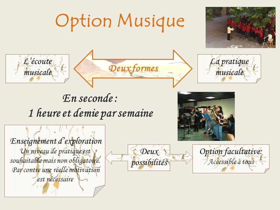 Option Musique Deux formes Lécoute musicale En seconde : 1 heure et demie par semaine Deux possibilités. Enseignement dexploration Un niveau de pratiq