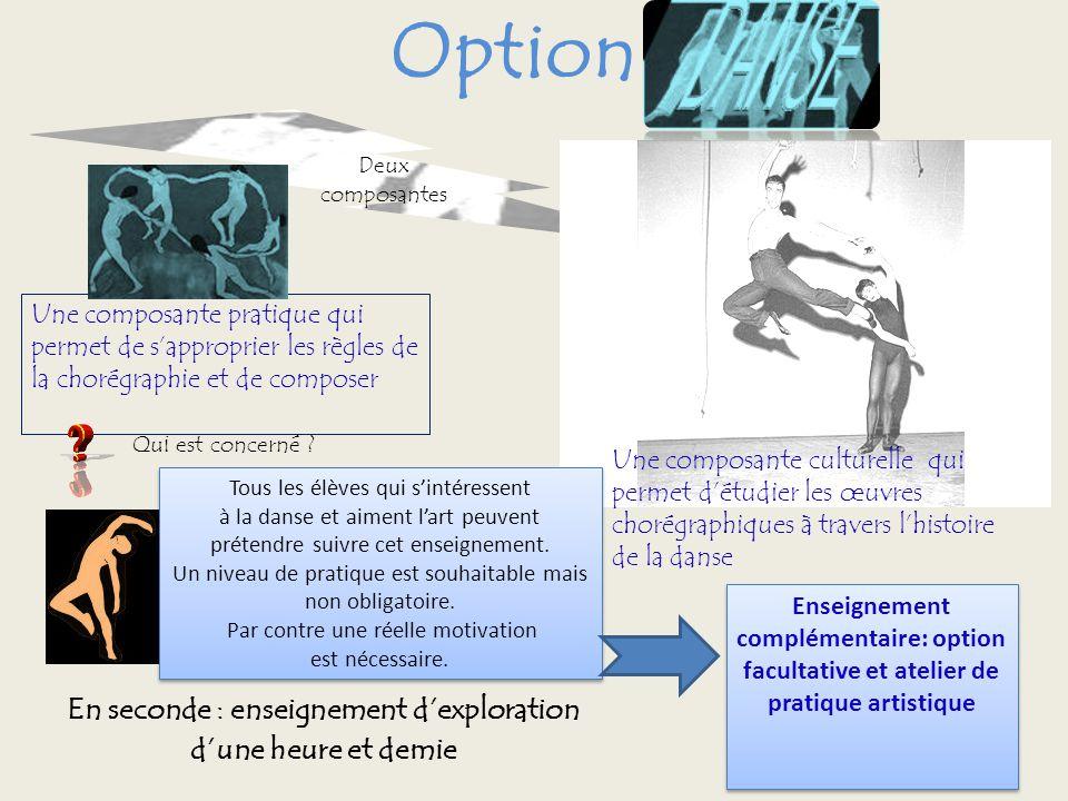 Option Deux composantes En seconde : enseignement dexploration dune heure et demie Une composante culturelle qui permet détudier les œuvres chorégraph
