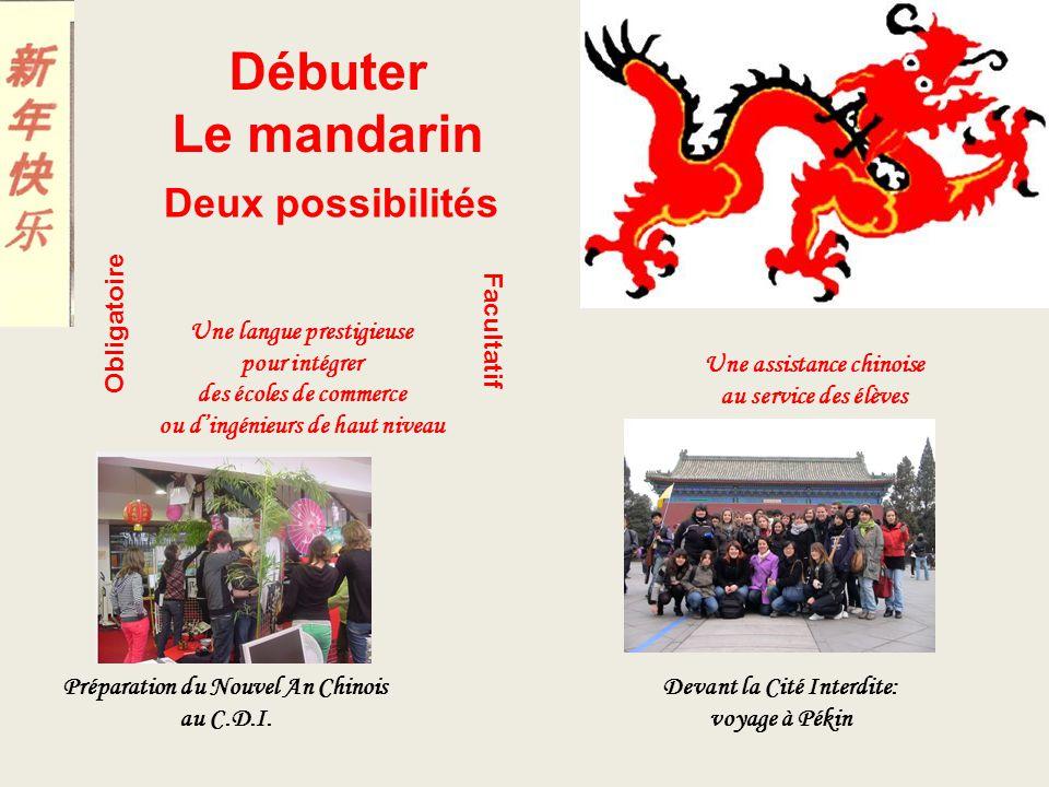 Débuter Le mandarin Deux possibilités Obligatoire Facultatif Une langue prestigieuse pour intégrer des écoles de commerce ou dingénieurs de haut nivea