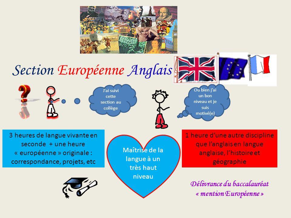 Section Européenne Anglais Maîtrise de la langue à un très haut niveau 3 heures de langue vivante en seconde + une heure « européenne » originale : co
