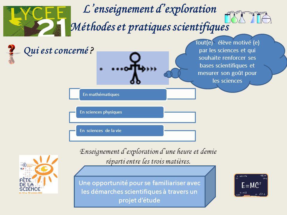 Lenseignement dexploration Méthodes et pratiques scientifiques Enseignement dexploration dune heure et demie réparti entre les trois matières. Qui est