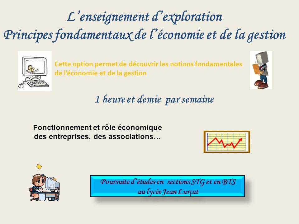 Lenseignement dexploration Principes fondamentaux de léconomie et de la gestion Cette option permet de découvrir les notions fondamentales de léconomi