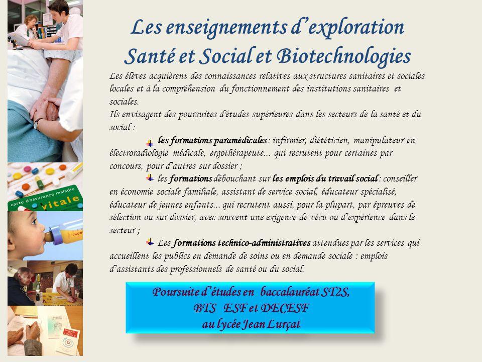 Les enseignements dexploration Santé et Social et Biotechnologies Les élèves acquièrent des connaissances relatives aux structures sanitaires et socia